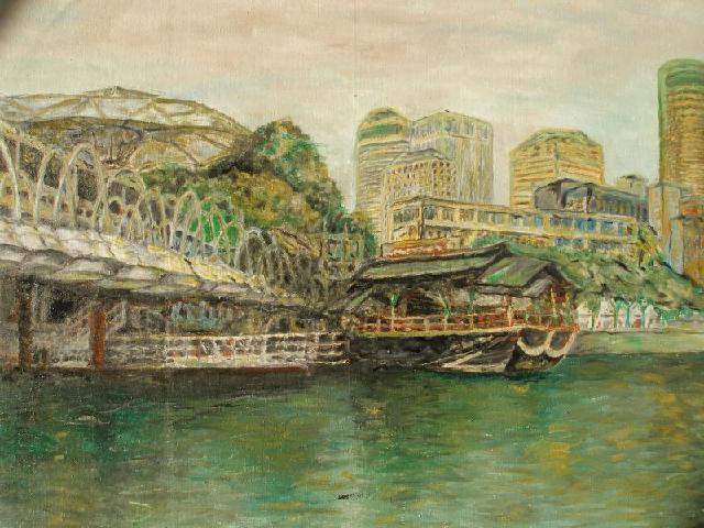 美丽的新加坡河 新加坡河是新加坡的母亲河,她是早期新加坡的经济动脉,是新加坡繁荣的起点,去年有幸去年去新加坡一游,被美丽新加坡和新加坡河所打动。该画曾评为雅昌艺术网百幅好画之一。