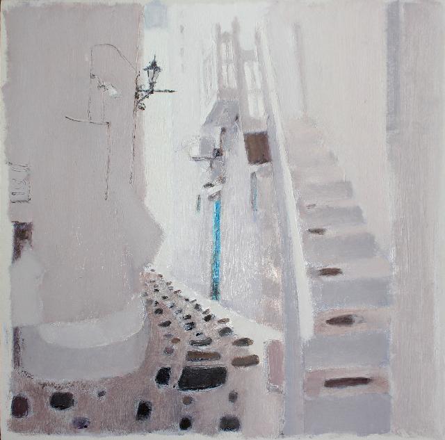 作品 路过系列之---白色扶梯-3 任敏  亚麻油彩
