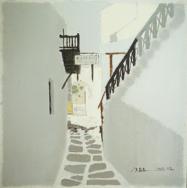 作品 路过系列之---黒色扶梯-3 任敏  亚麻油彩