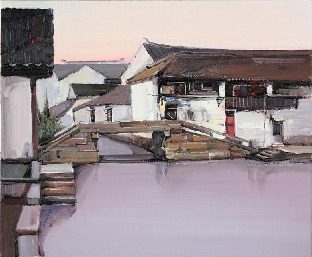 水乡民居-32 吴俊卉 油画颜料 亚麻布 杉木内框 手工底