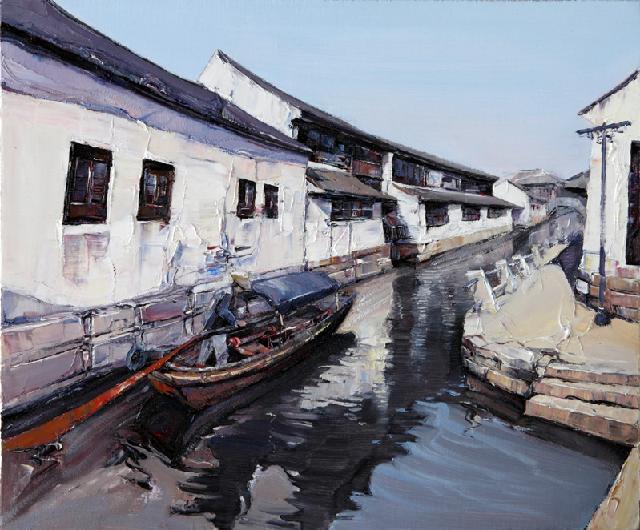 水乡民居-67 吴俊卉 油画颜料 亚麻布 杉木内框 手工底