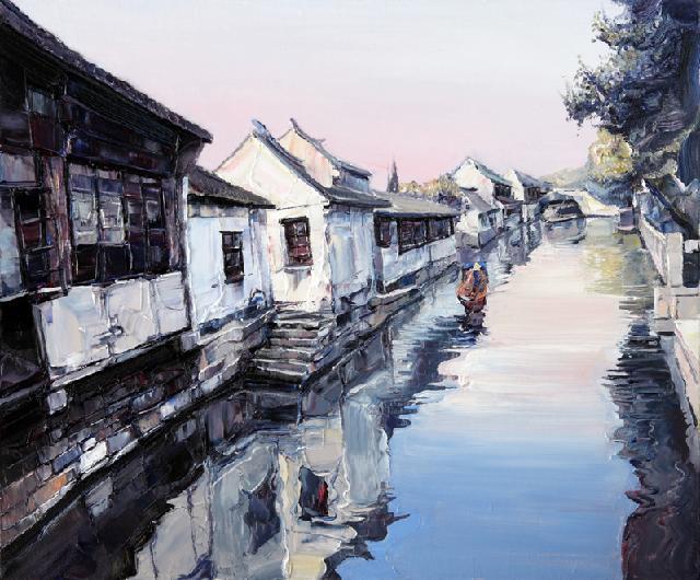 水乡民居-70 吴俊卉 油画颜料 亚麻布 杉木内框 手工底