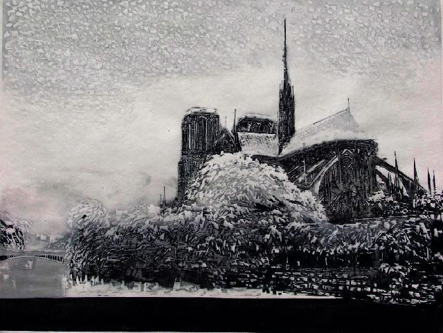 《访欧日记.》巴黎圣母院的冬天  2005 倪建明 木版
