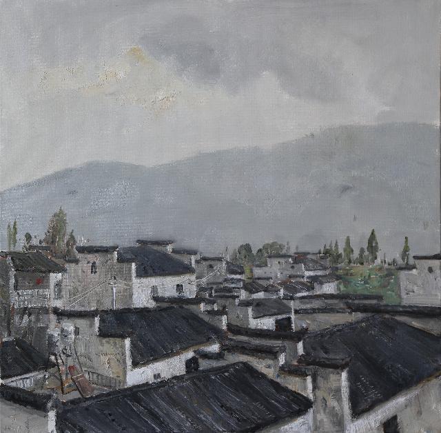 烟雨徽州之2 丁玉璞 油画