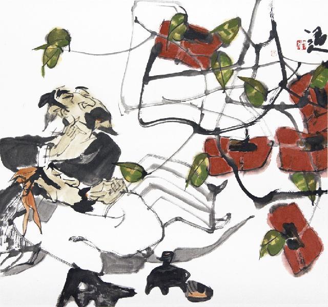 柿叶满亭红颗秋 张渭人 纸本水墨