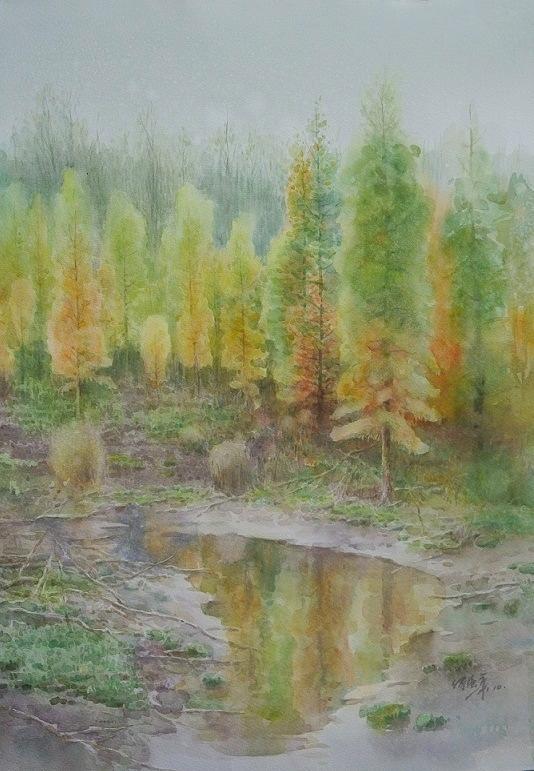 湿地之秋 何强华 纸本水彩