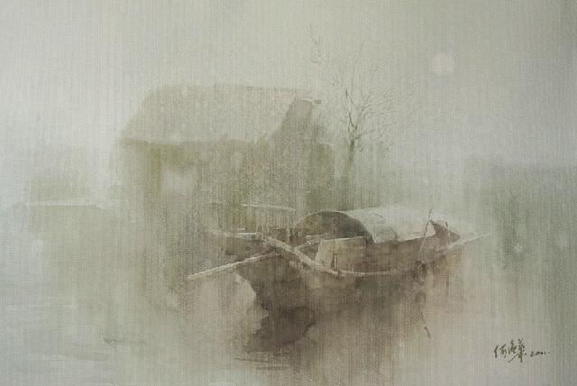 有雾的上午 何强华 纸本水彩