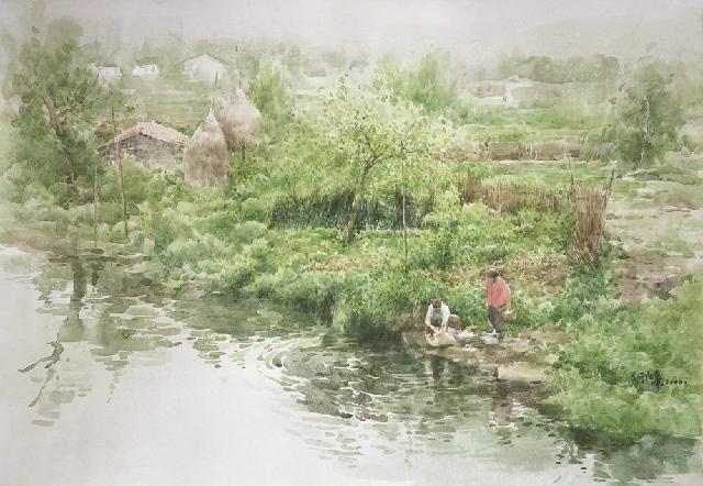 春河-Spring River 何强华 纸本水彩