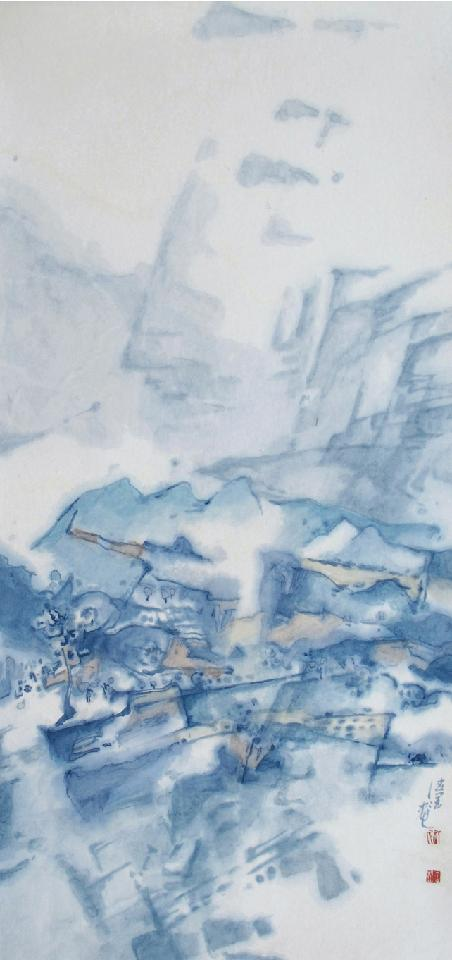 天青远峰出 孔德润 纸本中国画