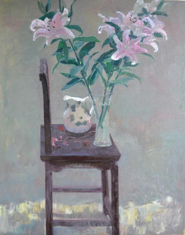 老椅子上的百合花 吕洪良 油画