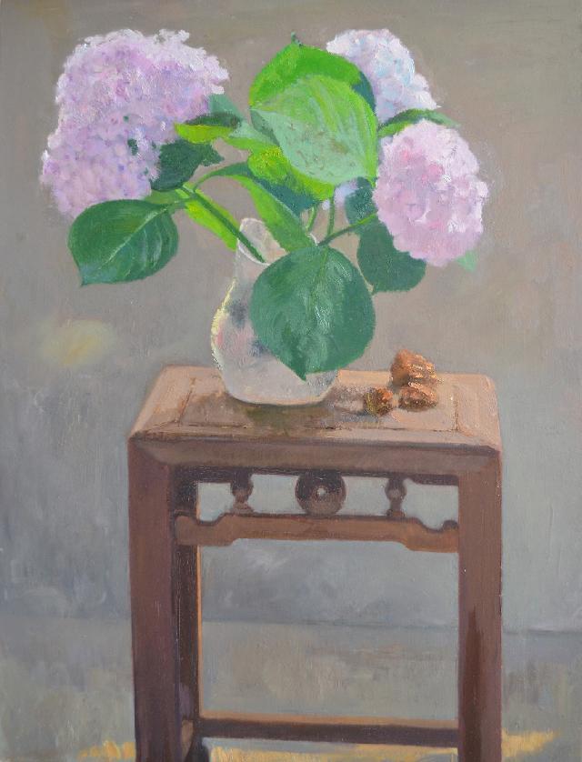 凳子上的绣球花 吕洪良 油画