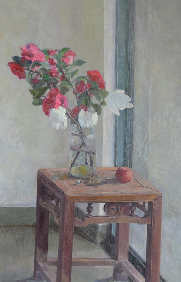 凳子上的山茶花 吕洪良 油画