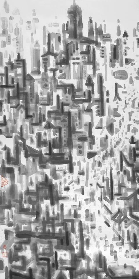 都市印象7-1 王鸿才 纸本水墨