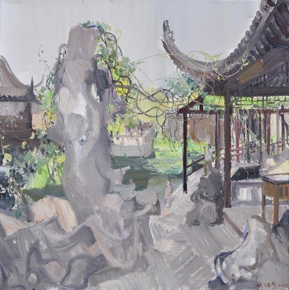 江南园林之八  胡继宁 亚麻油彩