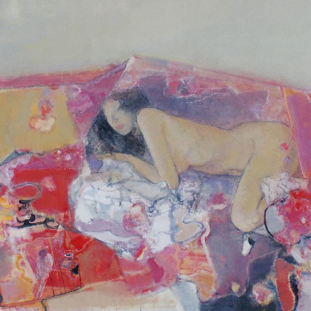 004(Detail of Spiritual garden Diary——Mirror 2008 後園日記——鏡子2008(局部) 陆云华 亚麻油彩