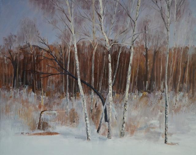 冬之白桦 汪硕 布面油画