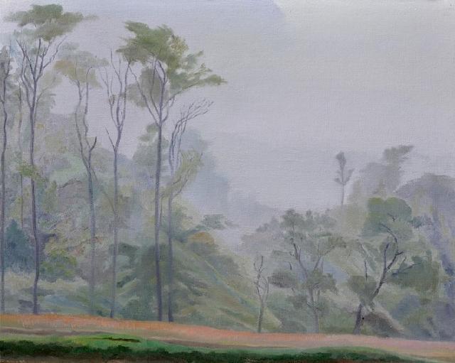 秋雾 张二虎 油画板