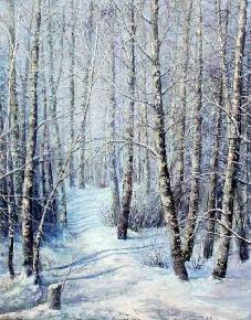 白桦林冬景