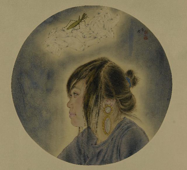 螳螂与少女2 李明 工笔