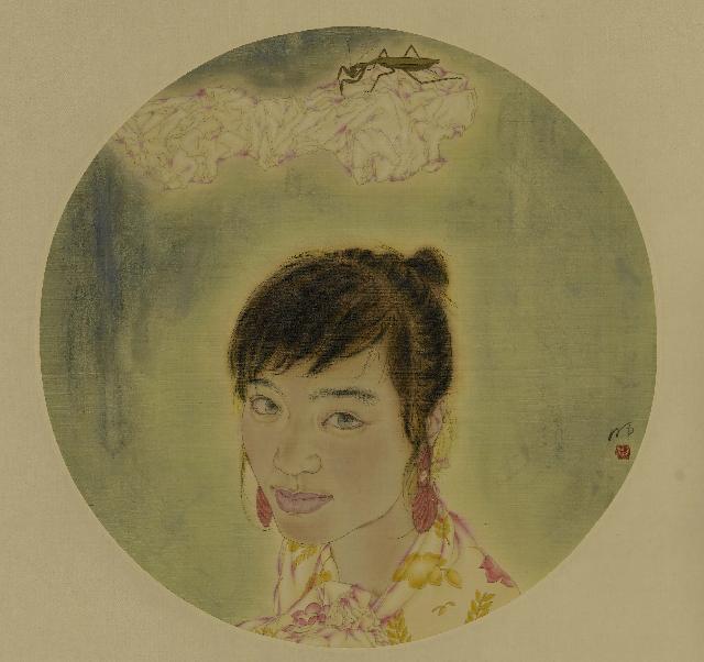 螳螂与少女-1 李明 工笔