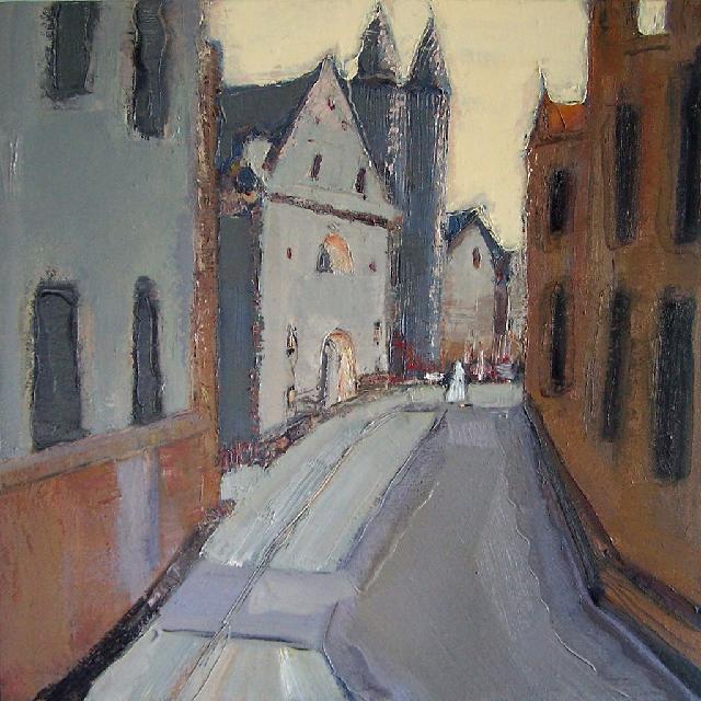 路过系列之——灰色街道 任敏 画布油彩