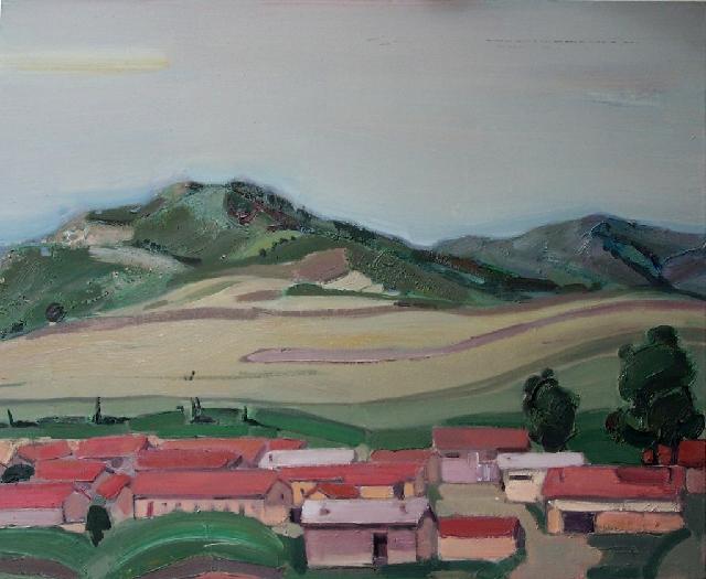 大地系列之----远山与红房子 任敏 画布油彩