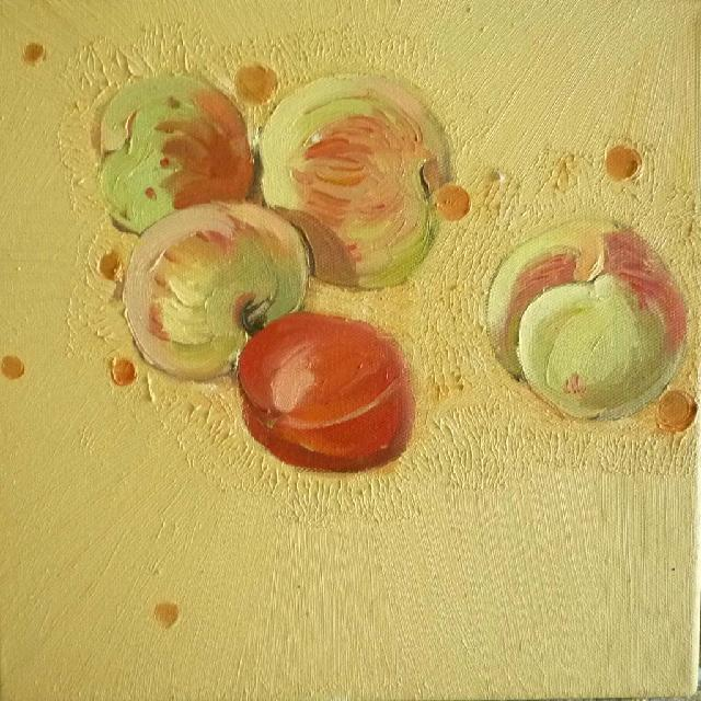 蔬果系列之---桃子柿子 任敏 画布油彩