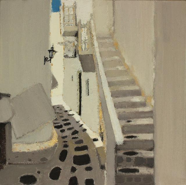 路过系列之----白色扶梯 二  任敏 画布油彩