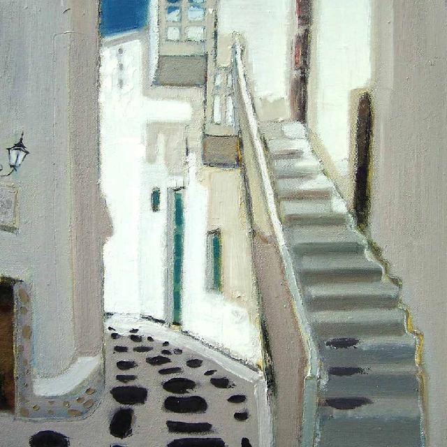 路过系列之——白色扶梯 任敏 画布油彩