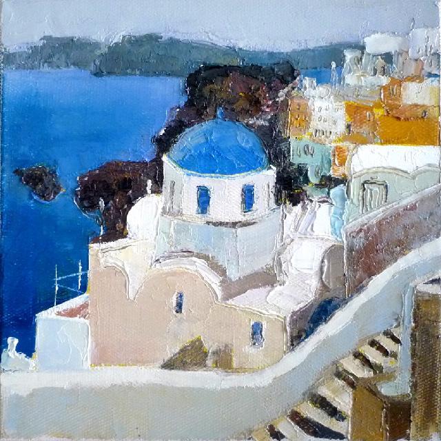 希腊小景一 任敏 画布油彩