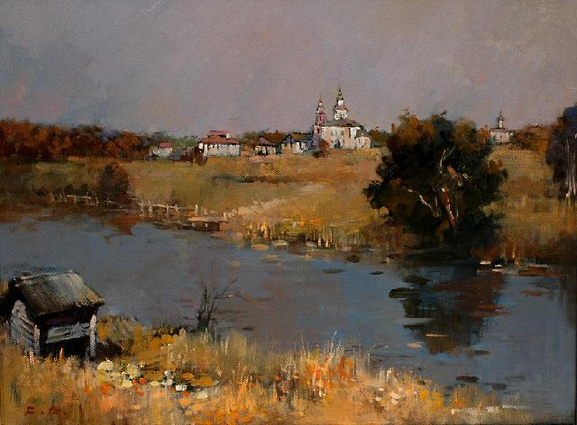 河对岸的村庄 傅钢 亚麻油彩