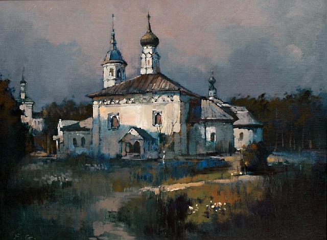 苏兹达利的教堂 傅钢 亚麻油彩