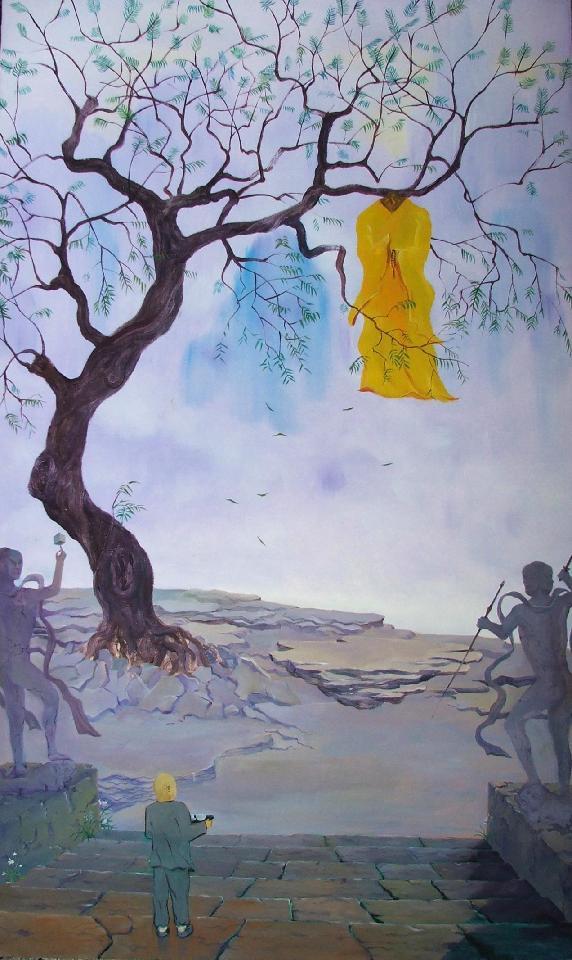 庙里的老和尚 邓京焱 油画