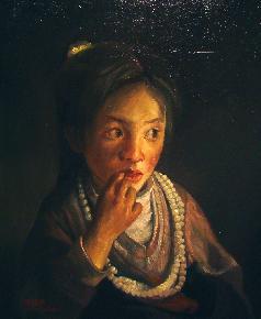 戴珍珠项链小藏女
