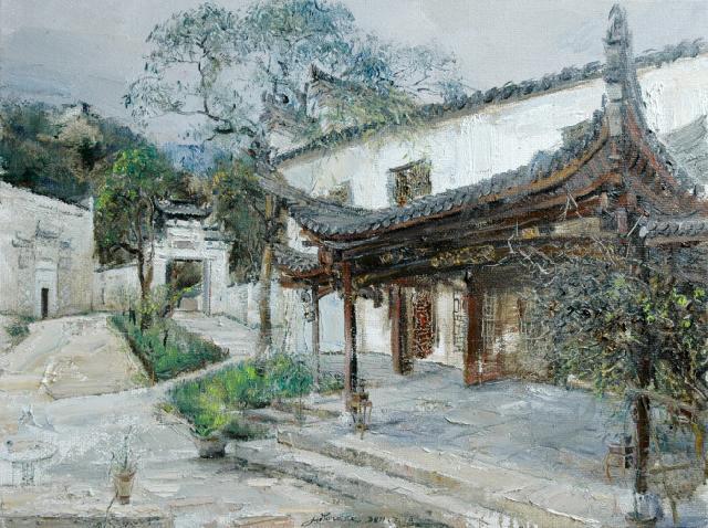 悦桂山庄 路永泽 画布油画