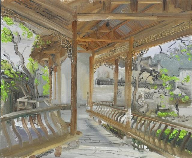 园林之一 路永泽 布面油画
