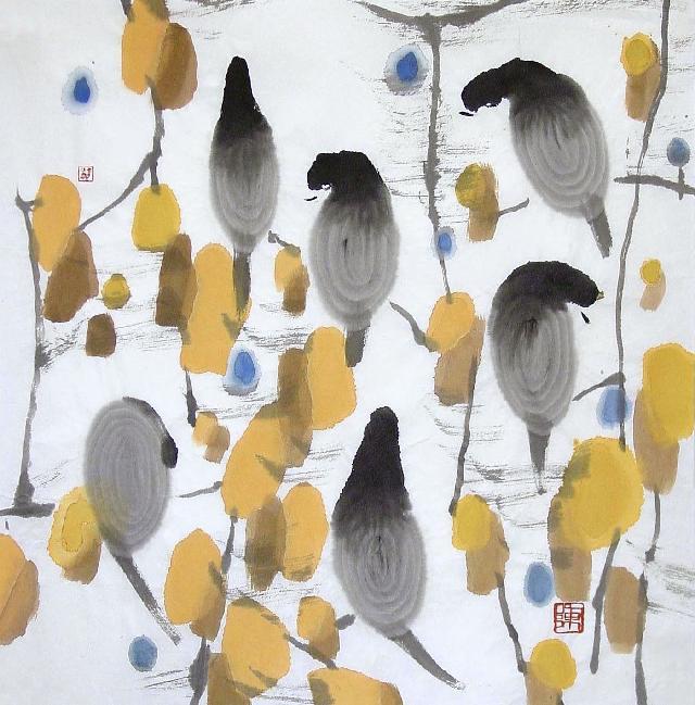 黄叶小鸟 陈可爱 纸本水墨
