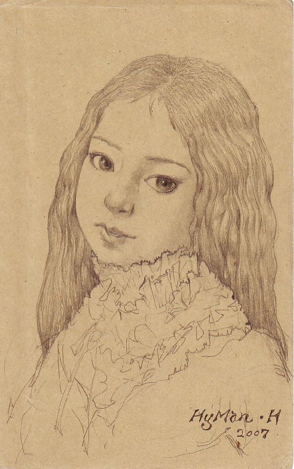 小女孩 黄敏 铅笔.纸