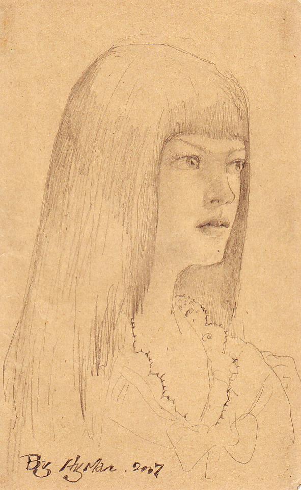 女大学生 黄敏 铅笔素描