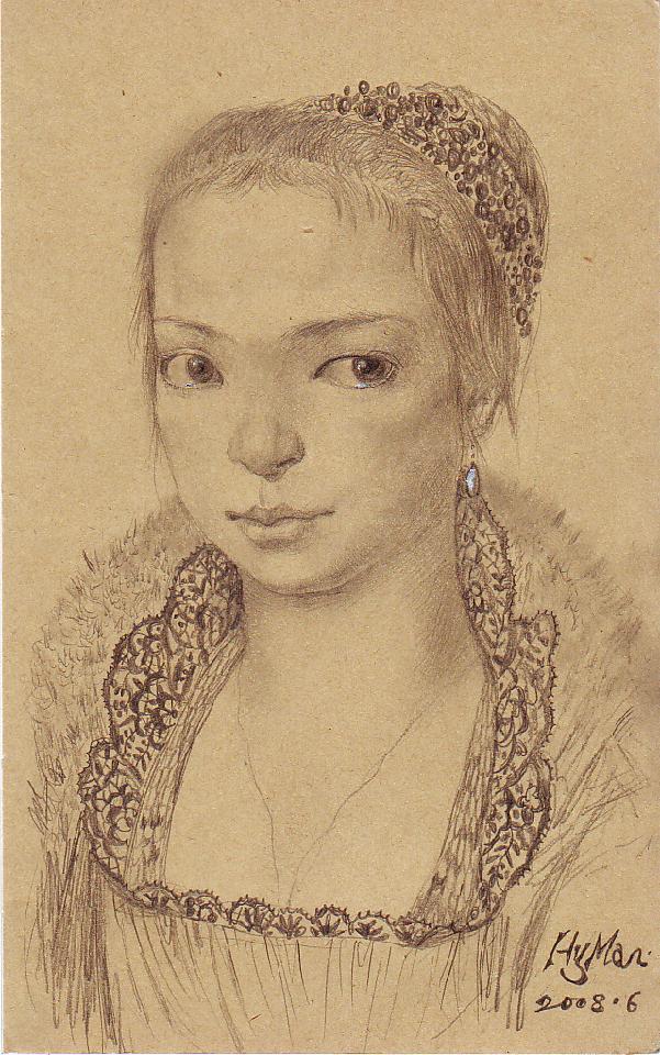 戴珍珠耳环的少妇 黄敏 铅笔素描